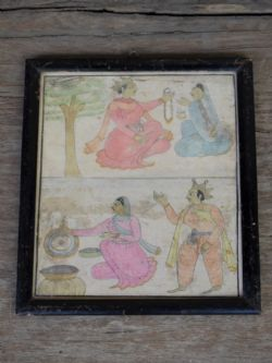Vintage Watercolour Sketch depicting scenes with Lord Krishna & His wife Rada